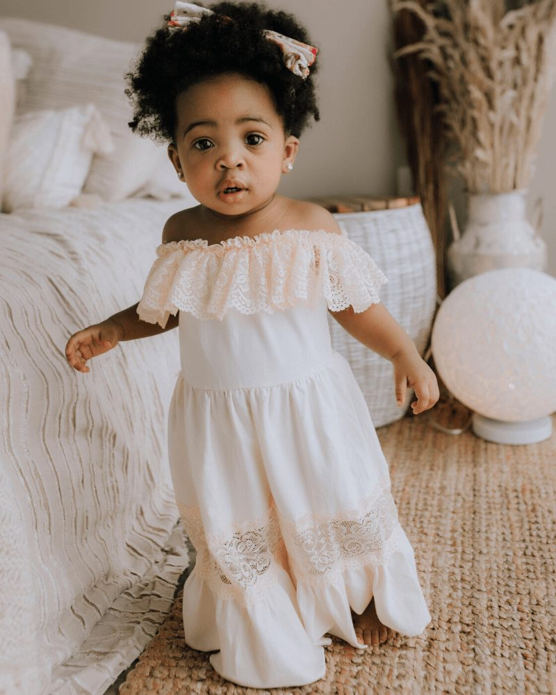 White maxi dress with lace trim for baby girls