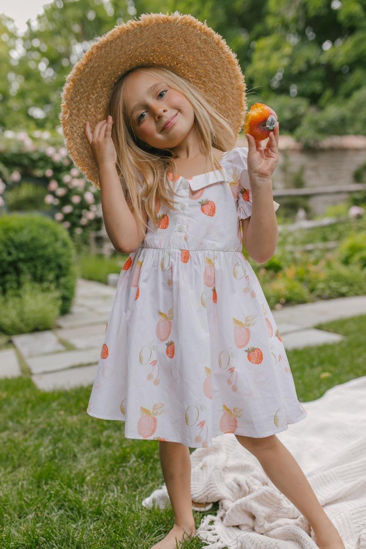 White fruit dress for baby girls