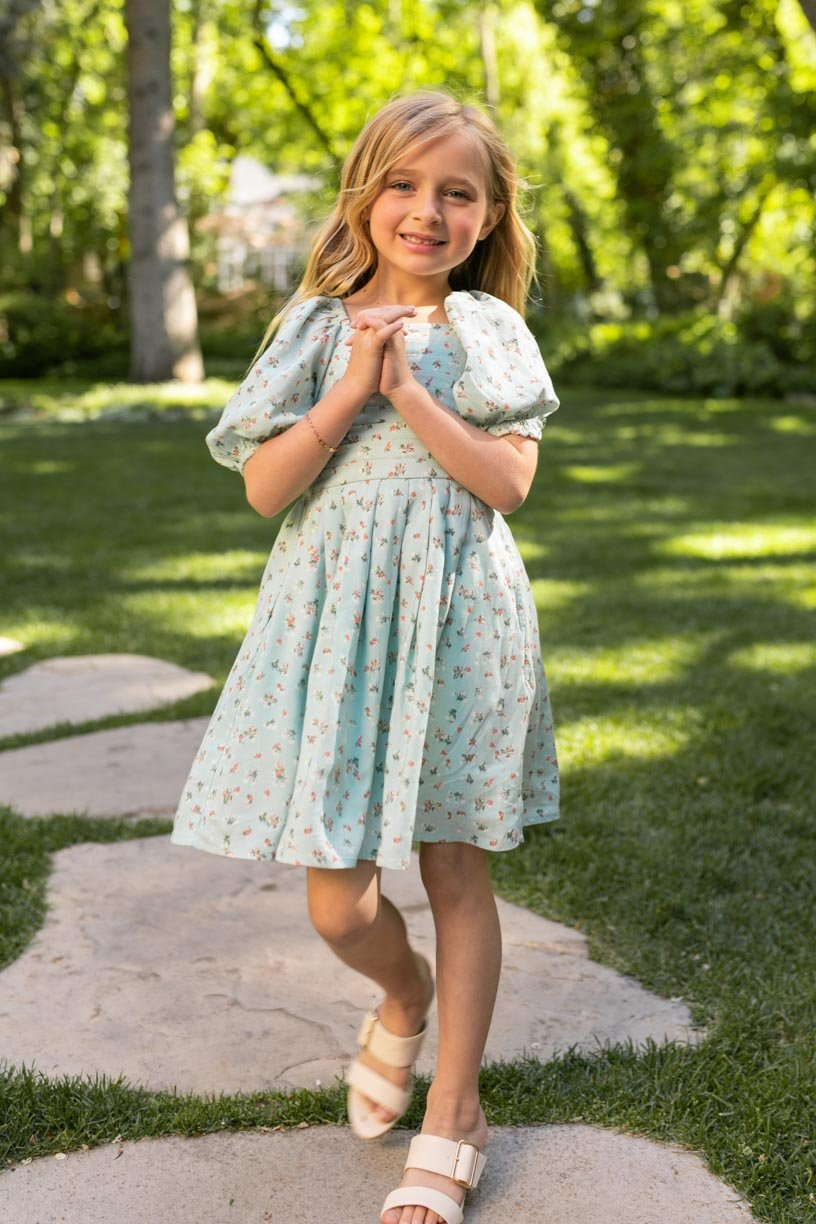 Sage green floral dress for girls with puff sleeves