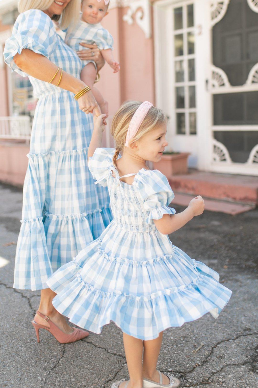 Blue gingham dress.for baby girls