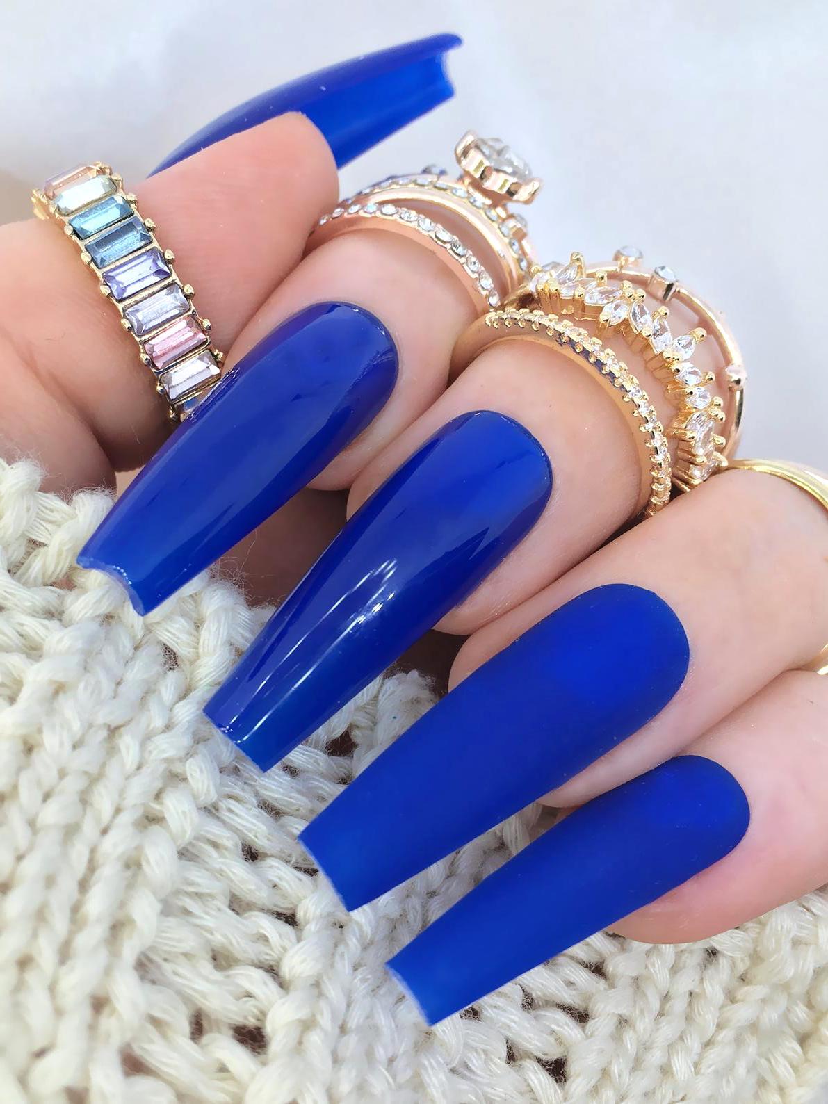 Long royal blue coffin nails
