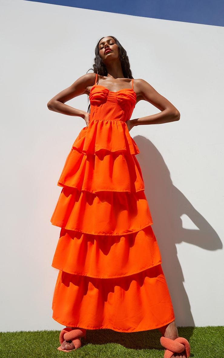 Orange summer maxi dress