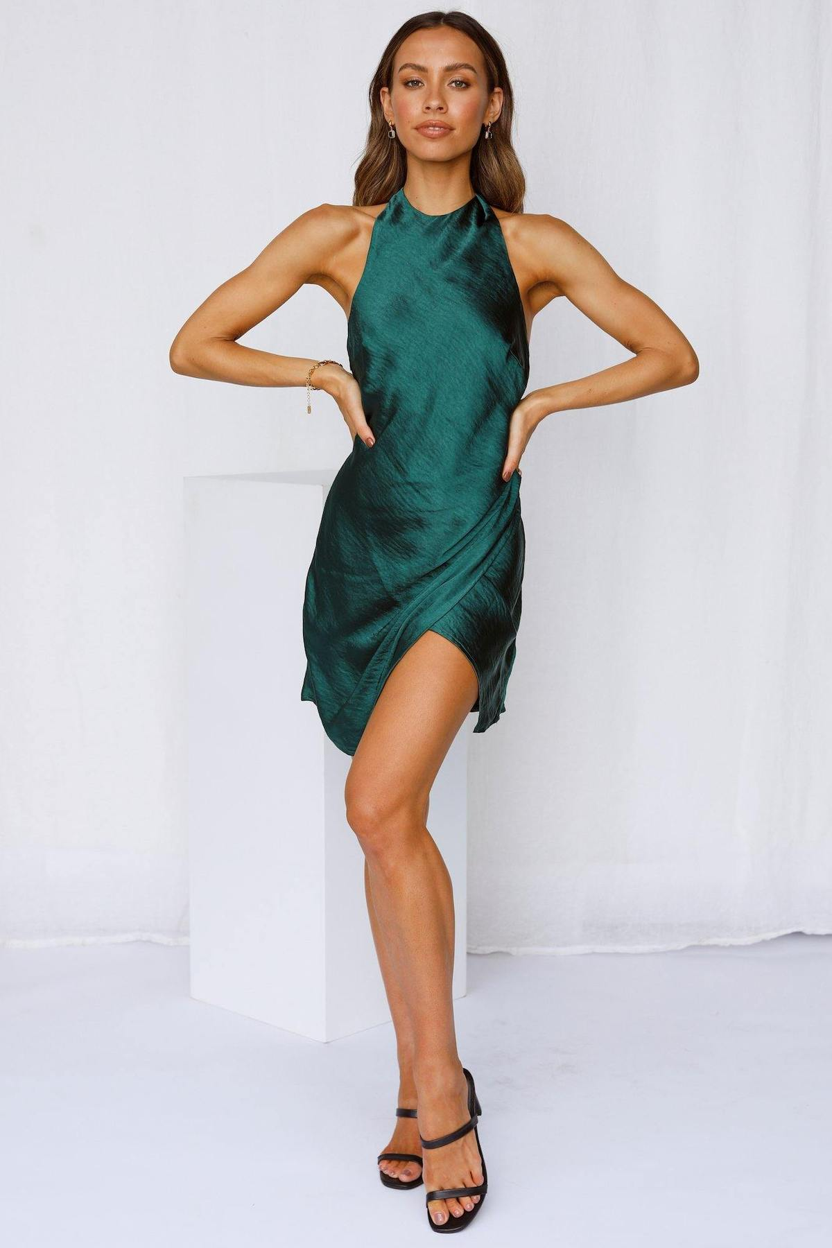 Emerald green halter mini satin dress for date night outfits