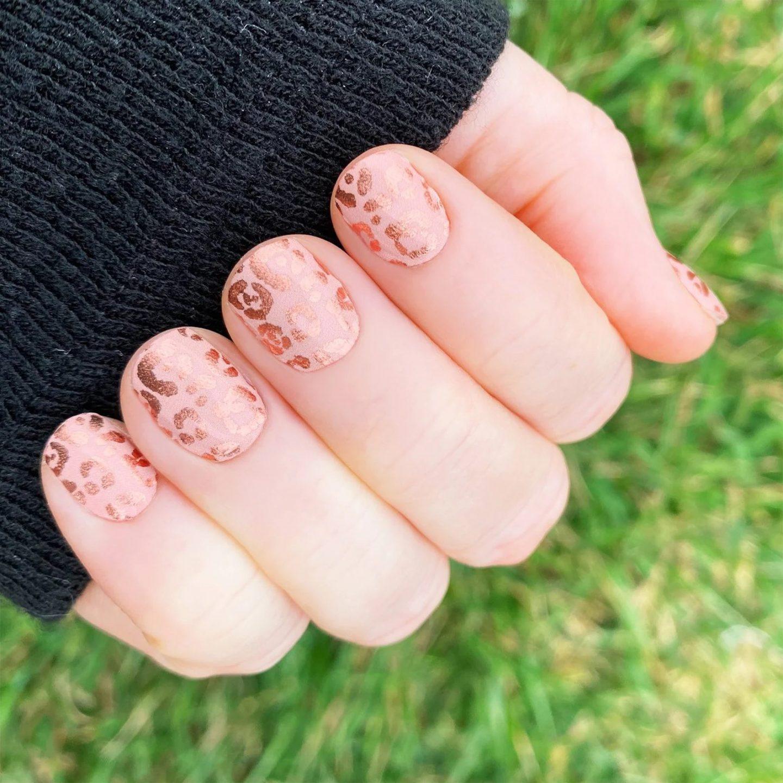 Short rose gold cheetah print nails