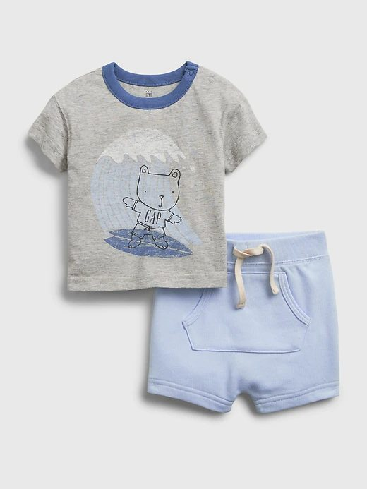 Light grey and blue t-shirt and shorts set for toddlers