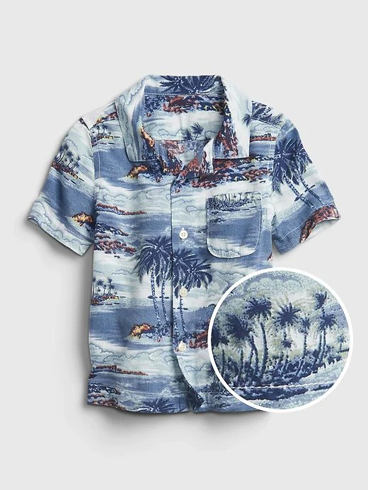 Blue tropical shirt for toddlers