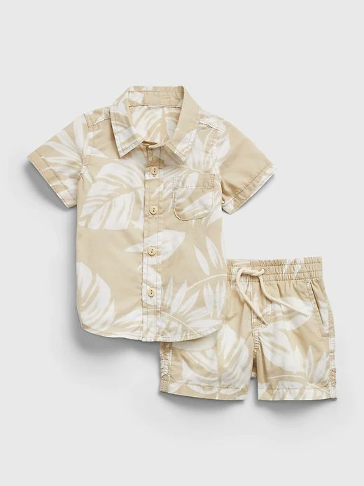 Cream button shirt and pants set for toddlers