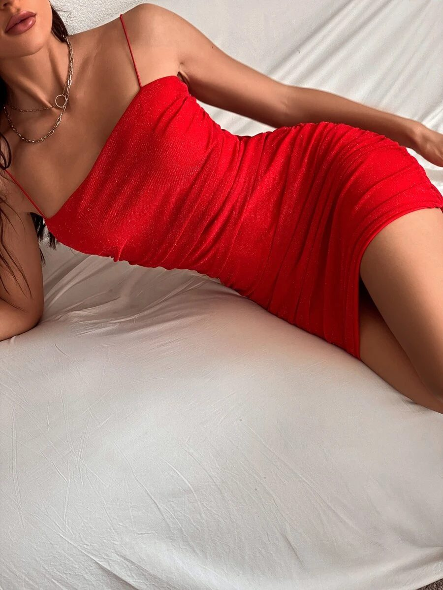 Bright red bodycon dress