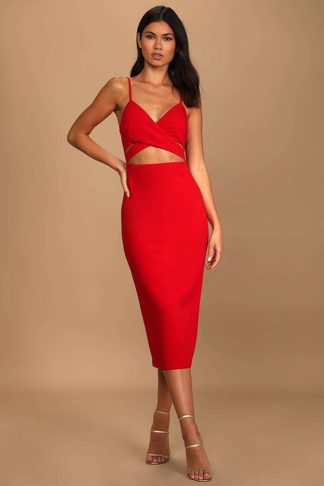 Maxi length red cutout dress