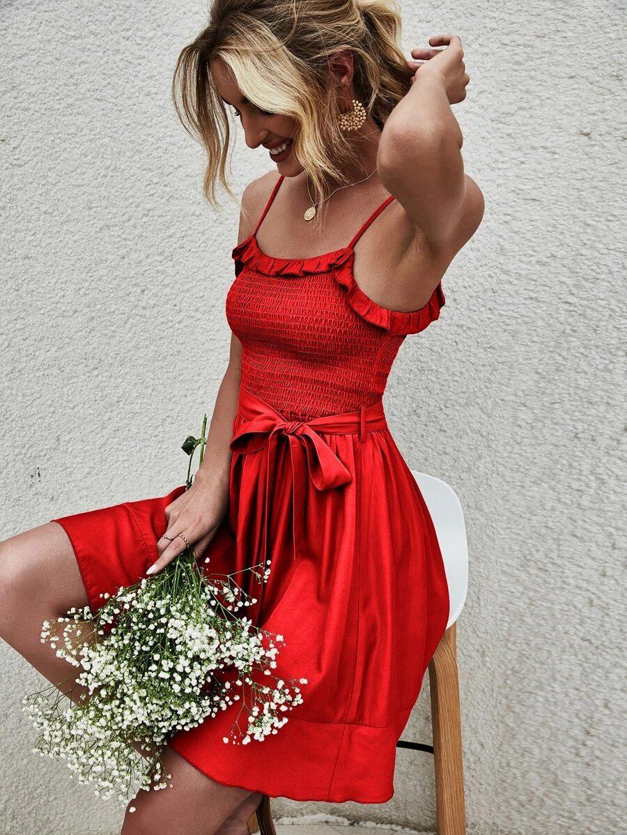 Cute red graduation dress idea