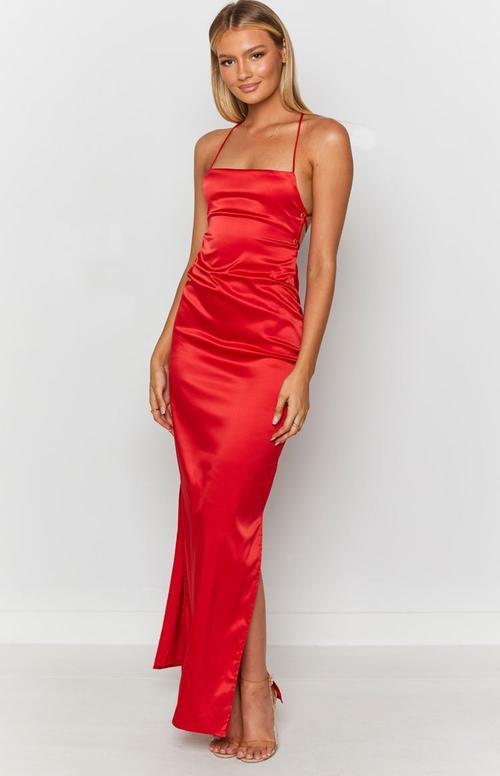 Satin red long evening dress