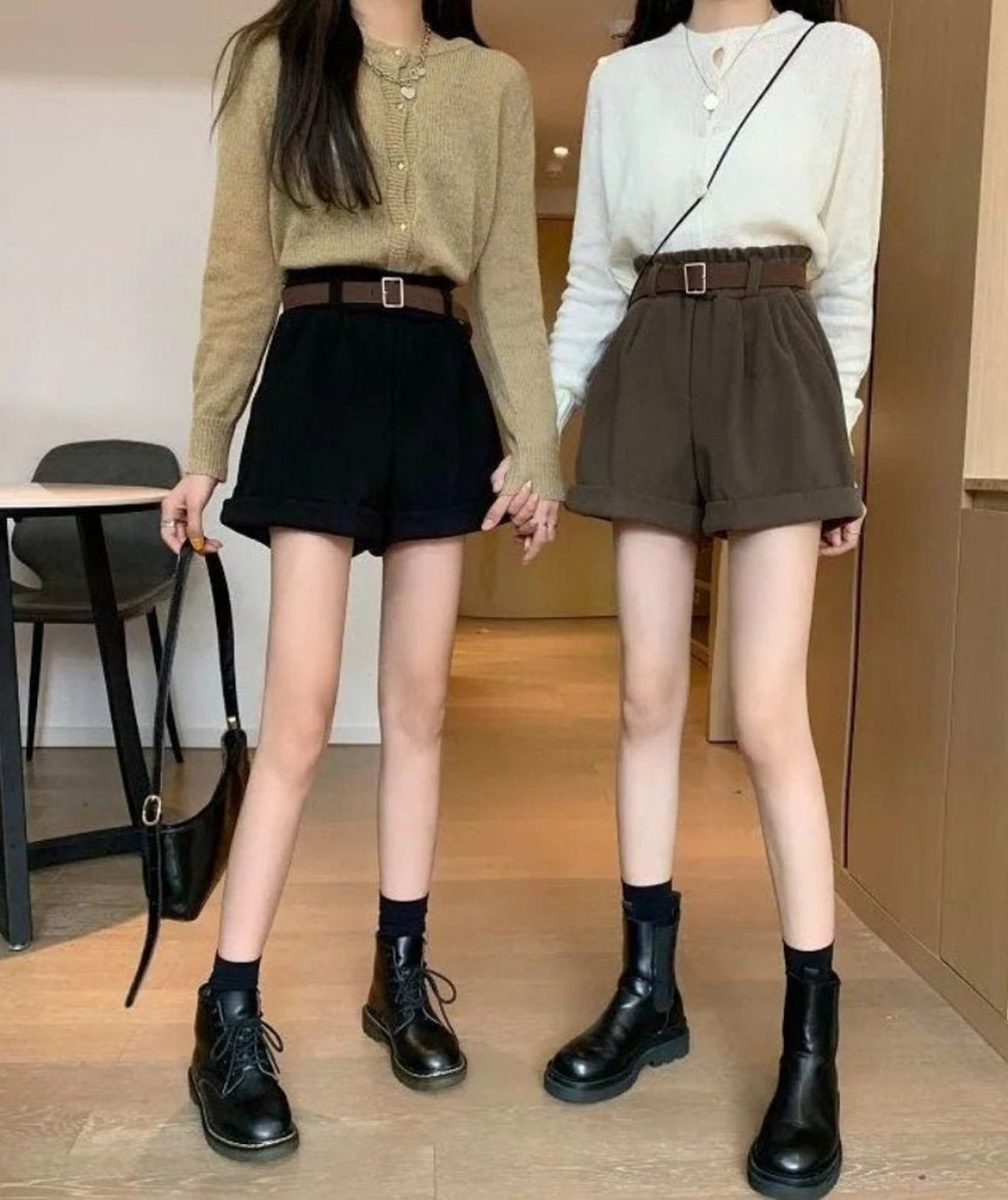 Dark academia shorts with Doc Martens boots