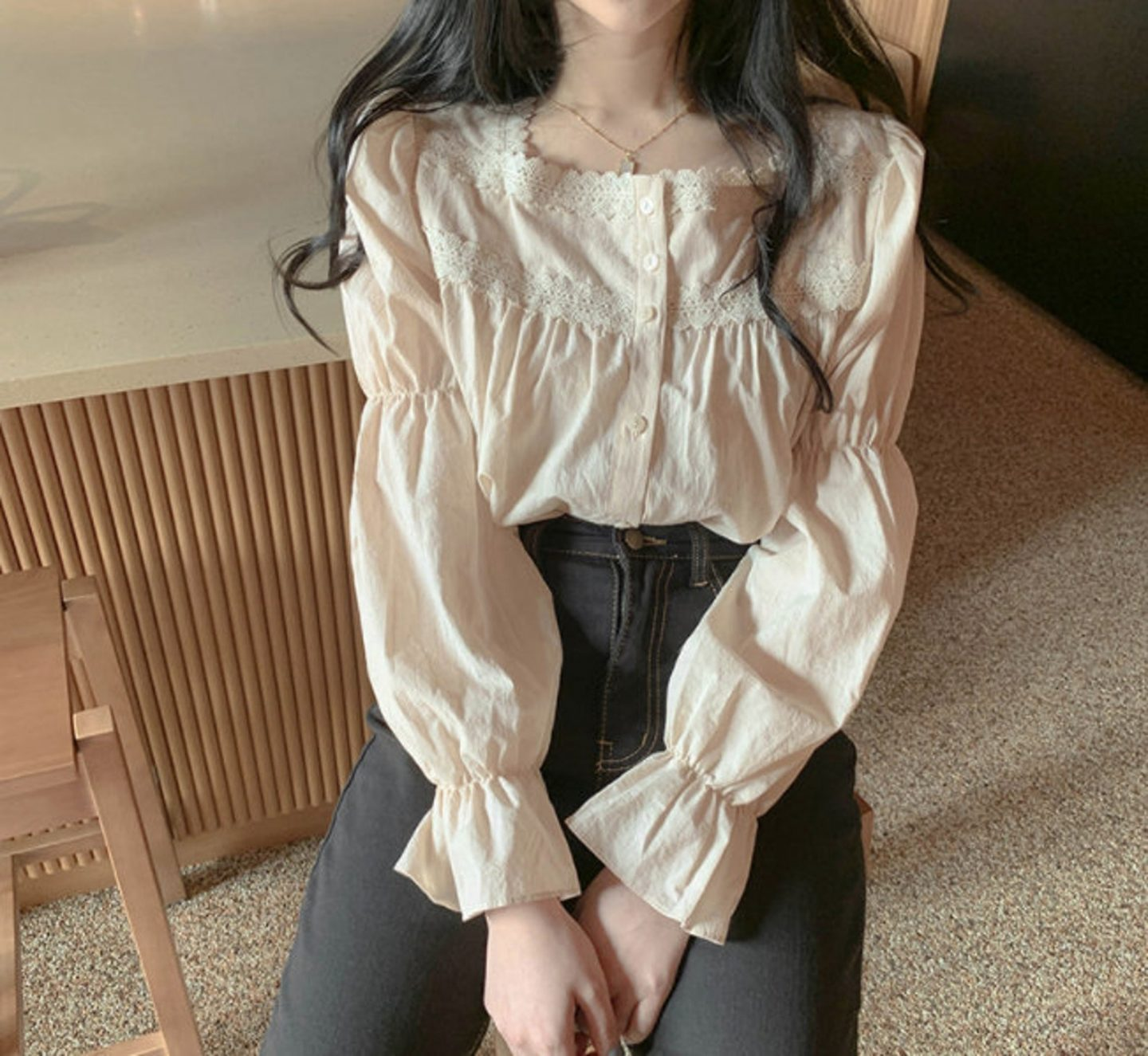 Light academia Victorian blouse with lace