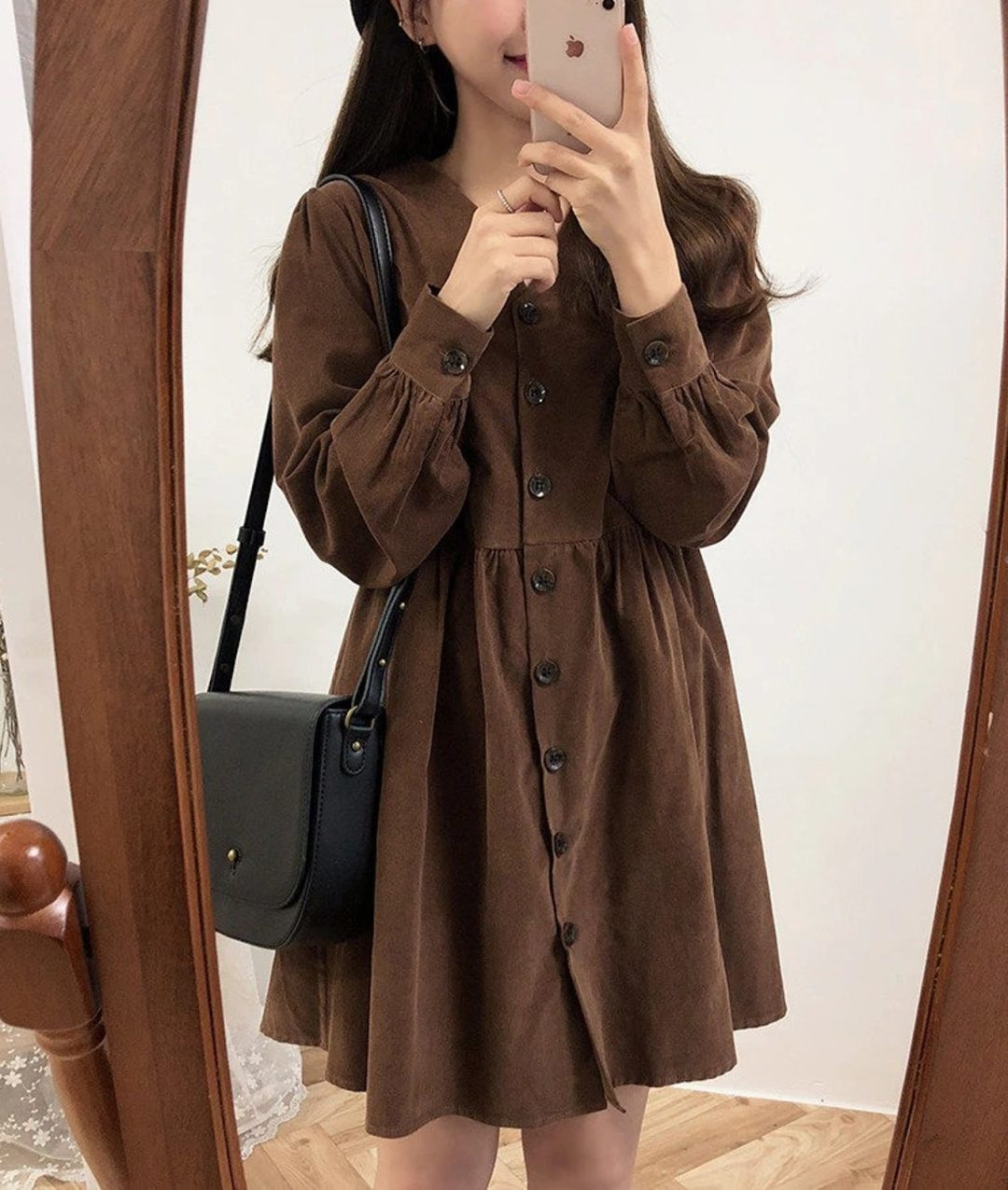 Brown long sleeve dress in dark academia outfit