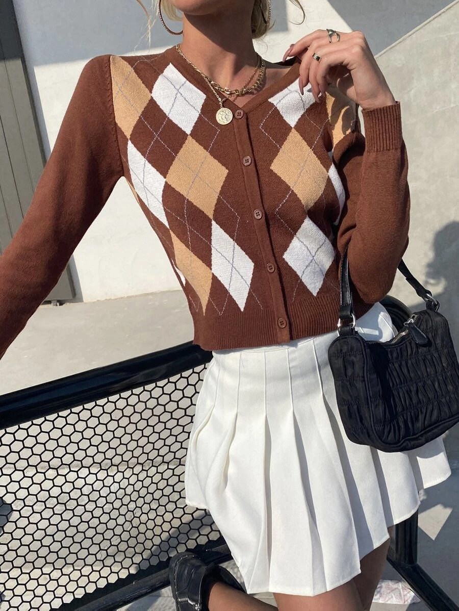 Brown dark academia fashion style cardigan with argyle pattern