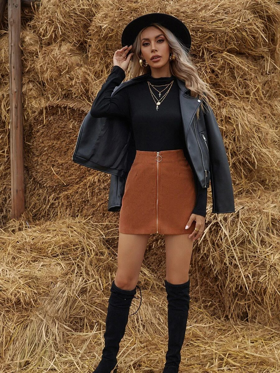 Cute dark academia outfit with brown skirt and leather jacket