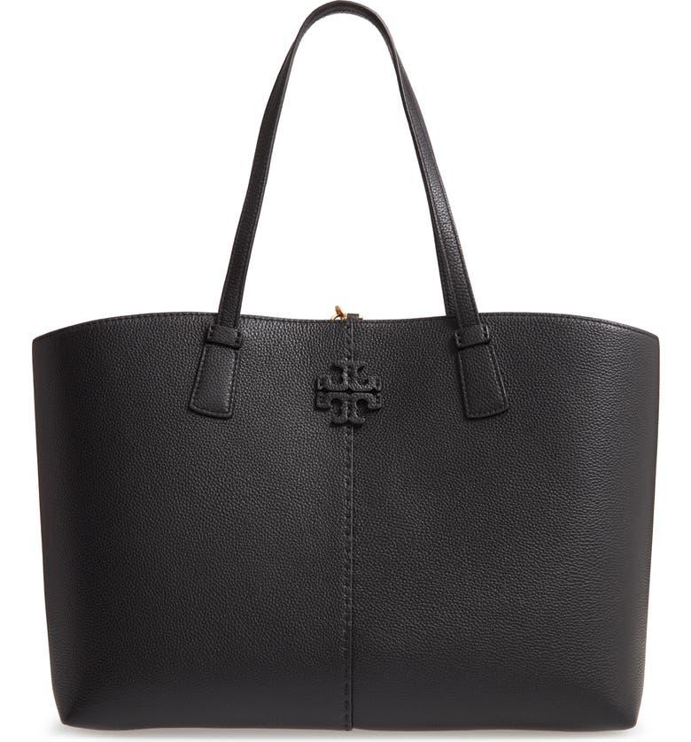 Tory Burch big black leather tote