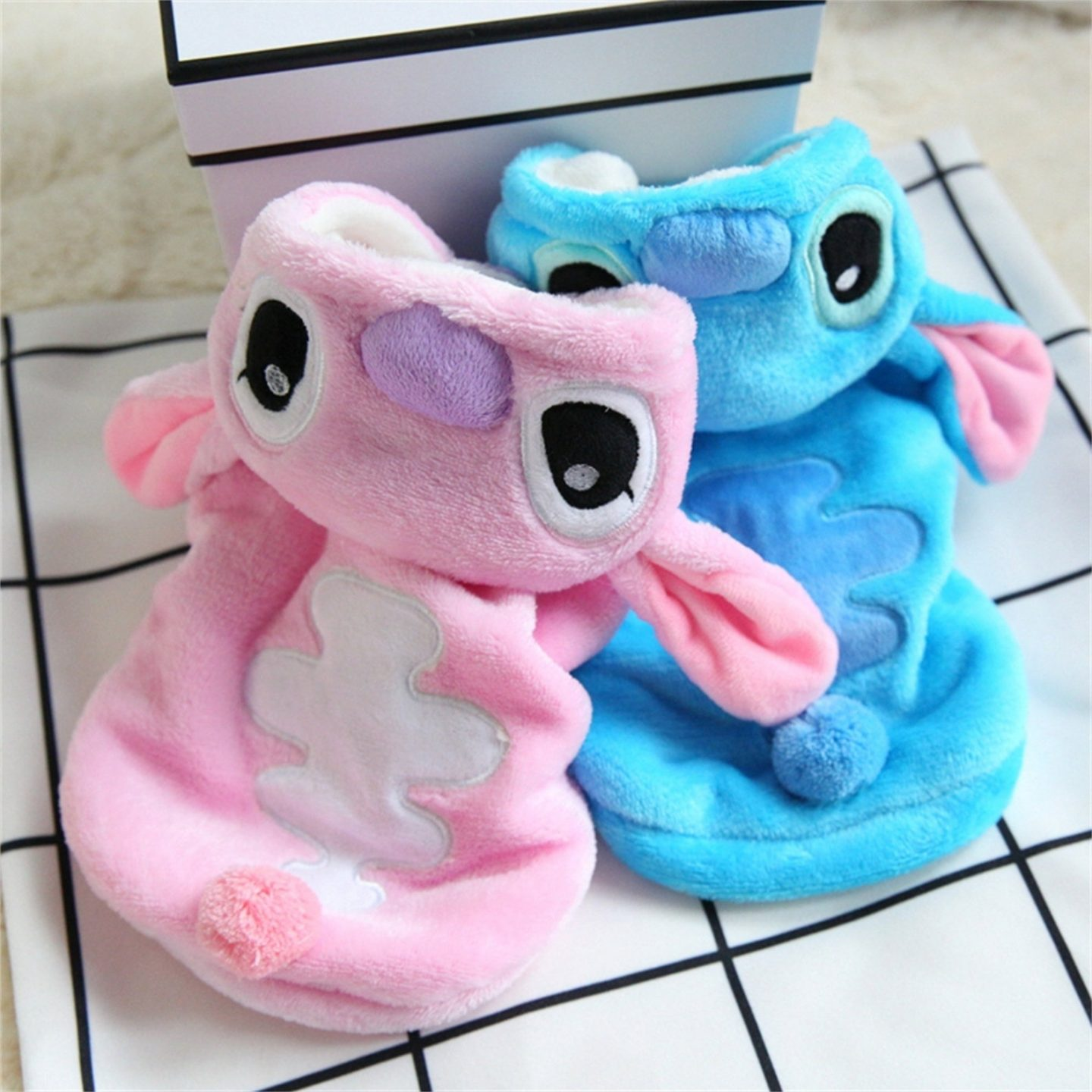 Pink and blue Stitch Halloween costume for small dogs