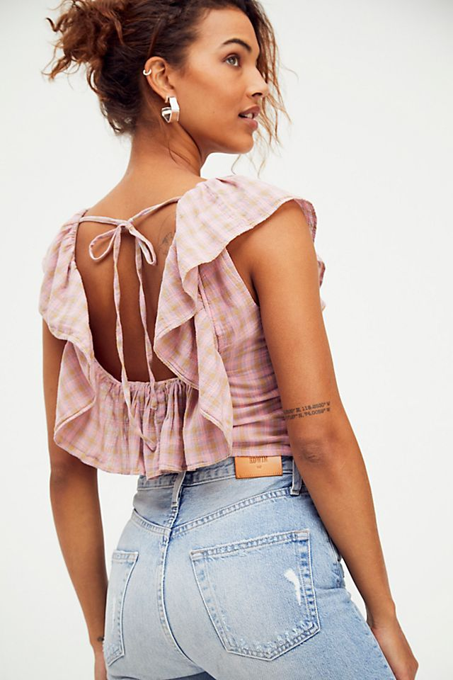Dusty pink ruffled top from Free People