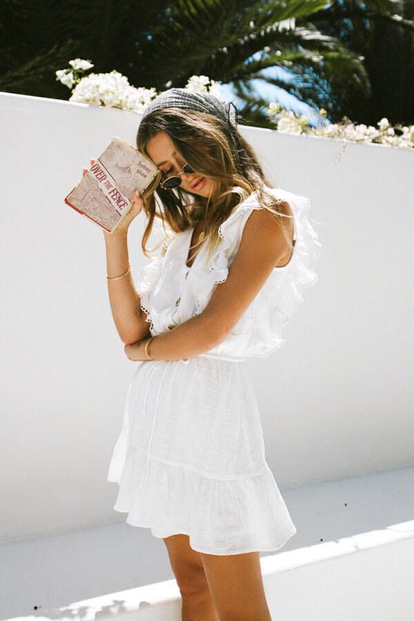 Dainty white ruffled dress from Sabo