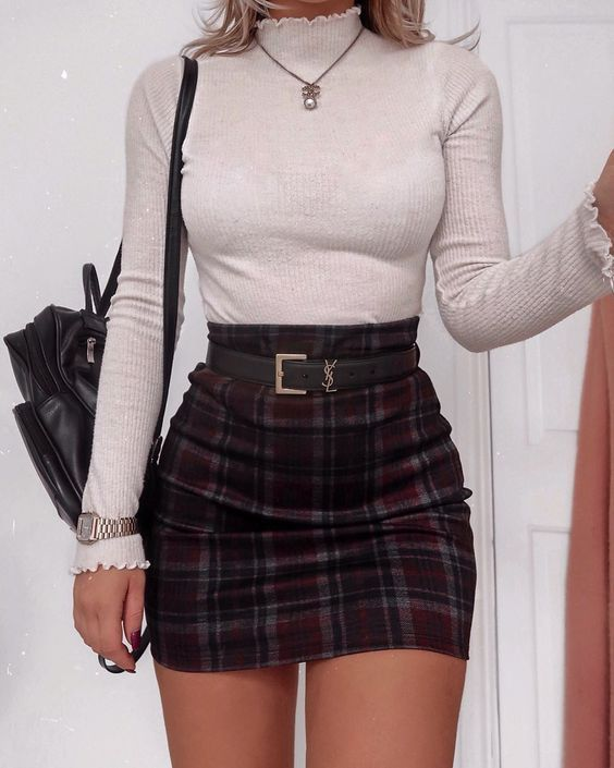 Long sleeve turtleneck top and plaid mini skirt for back to school outfits