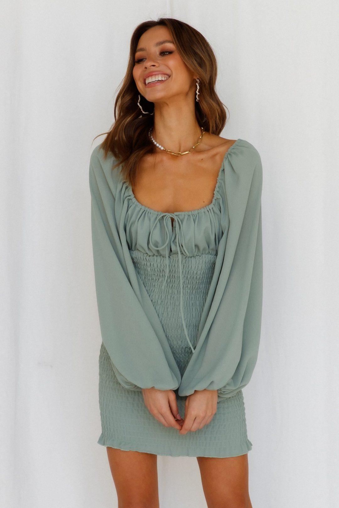 Sage green long-sleeved mini dress