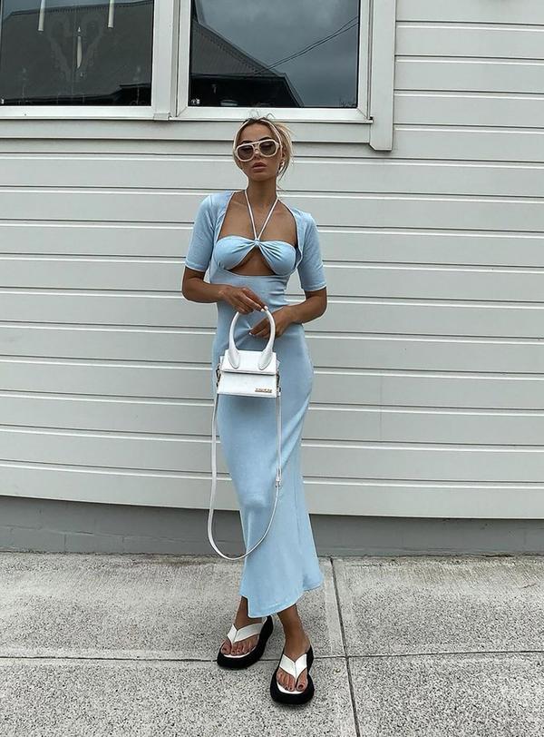 Sexu blue cut-out summer maxi dress