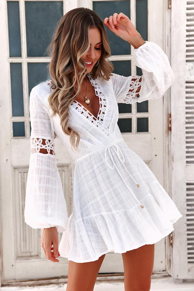 White sundress with long sleeves