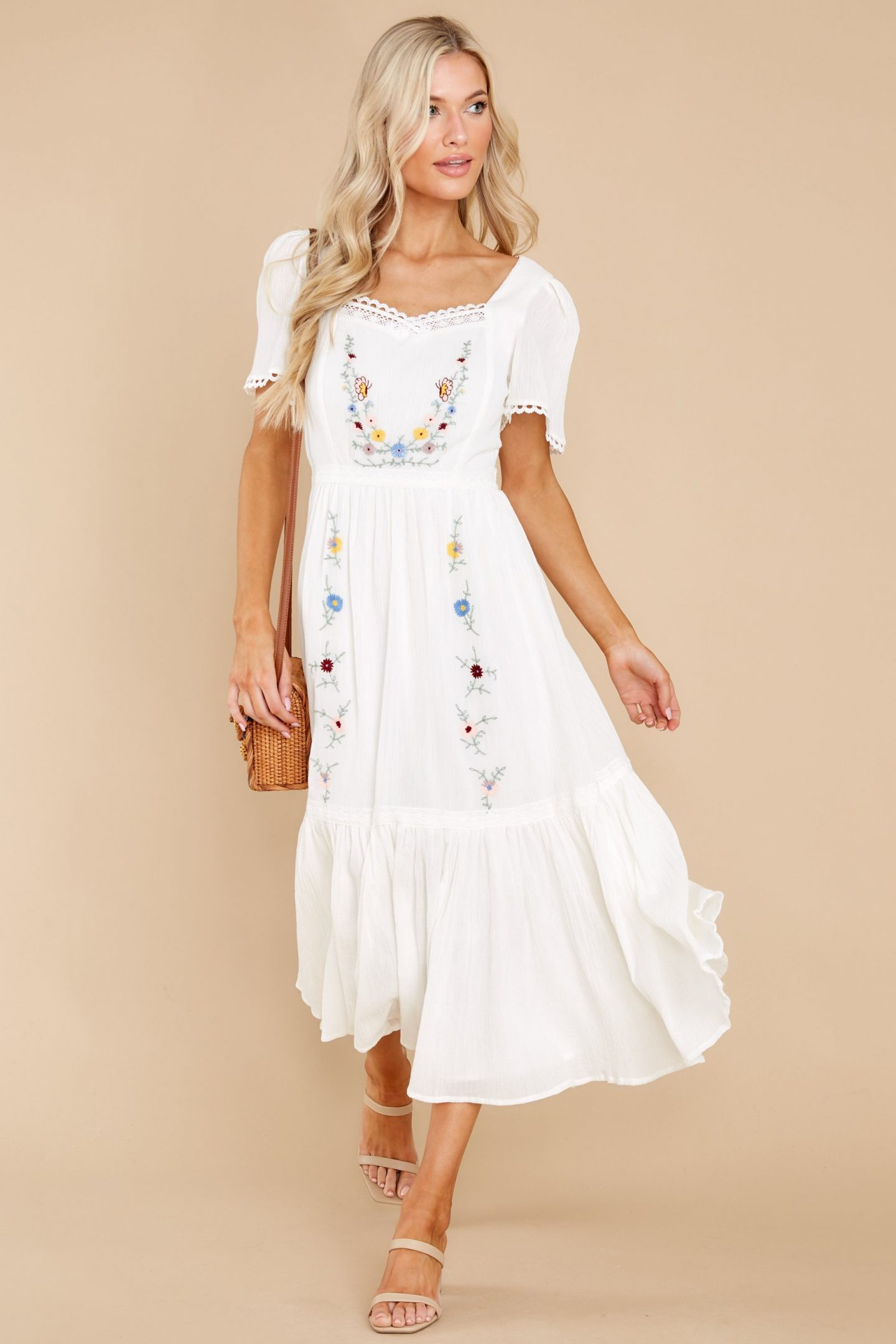 White midi cottagecore dress with floral embroidery