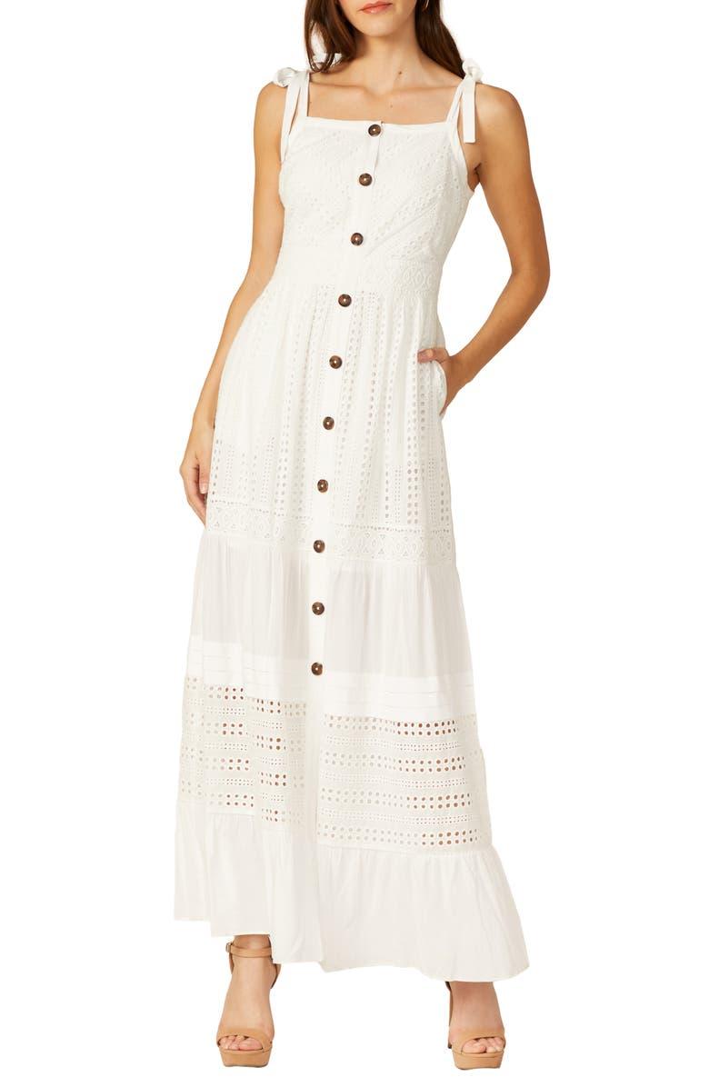 Button summer maxi dress