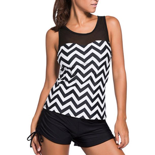 Black and white zigzag tankini to cover up stretch marks