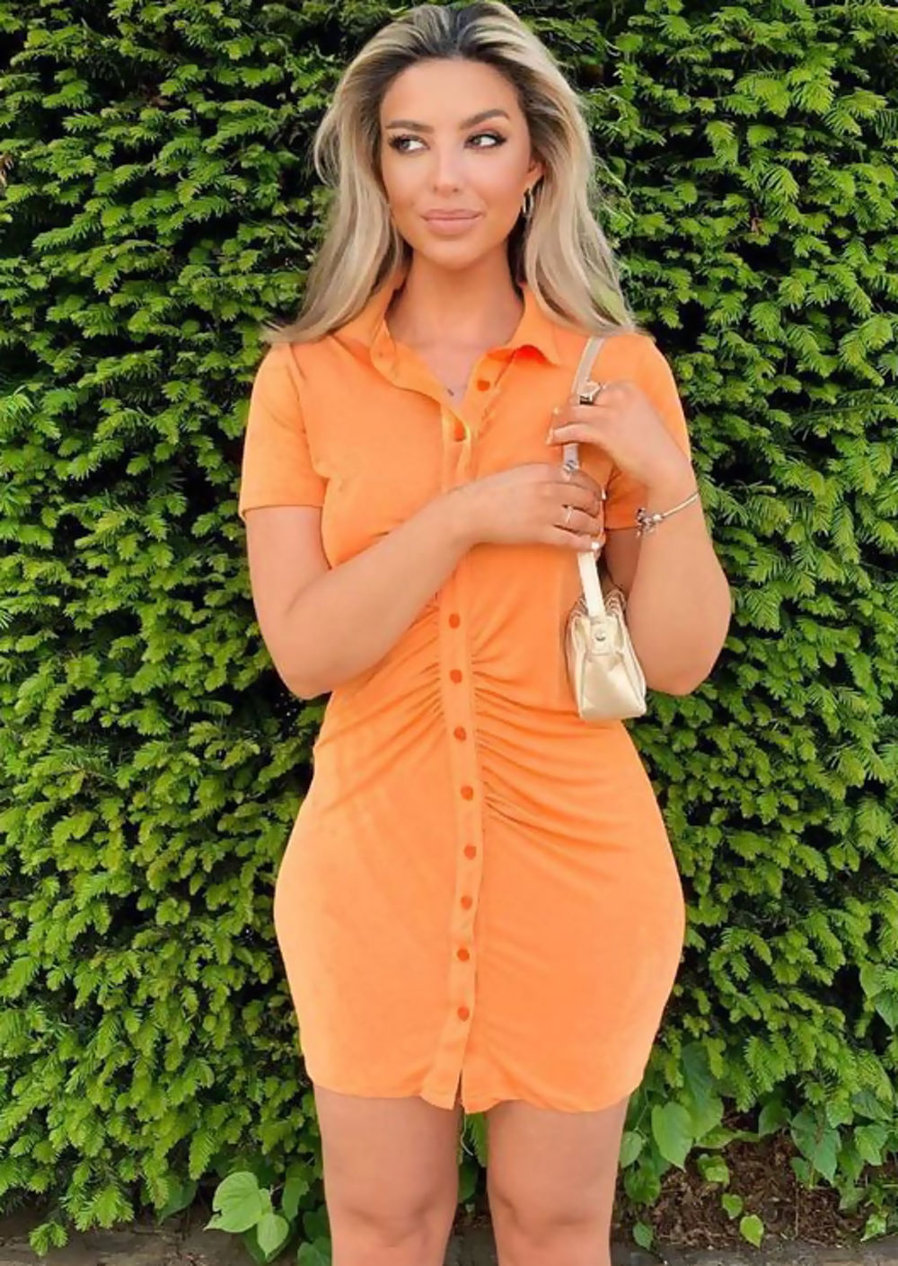 Collared orange dress for aesthetic outfits