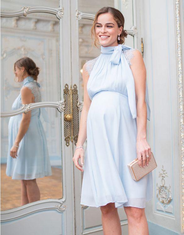 Powder blue turtleneck nursing dress