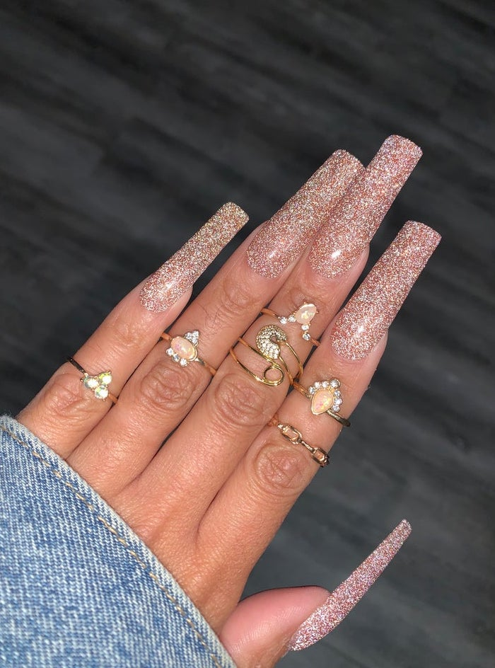 Long rose gold glitter coffin nails