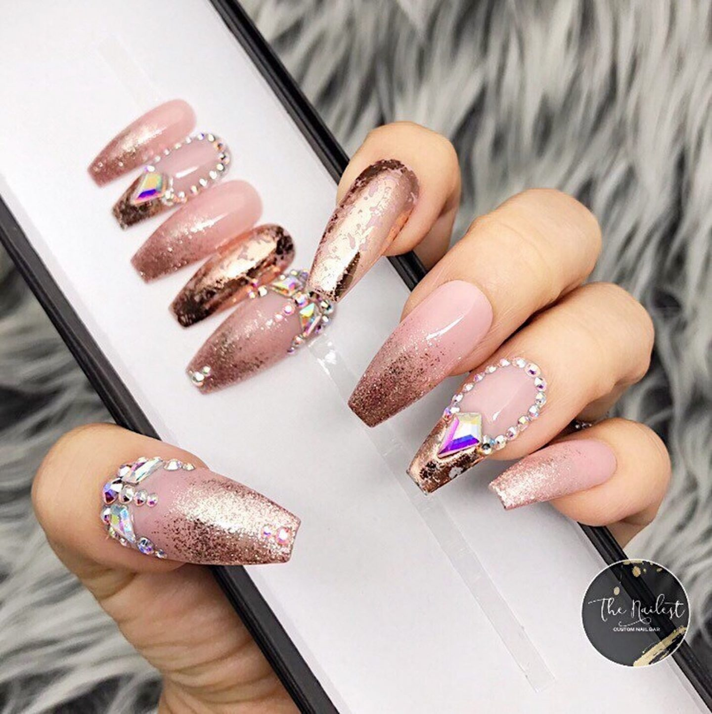 Cute rose gold glitter nails with rhinestones