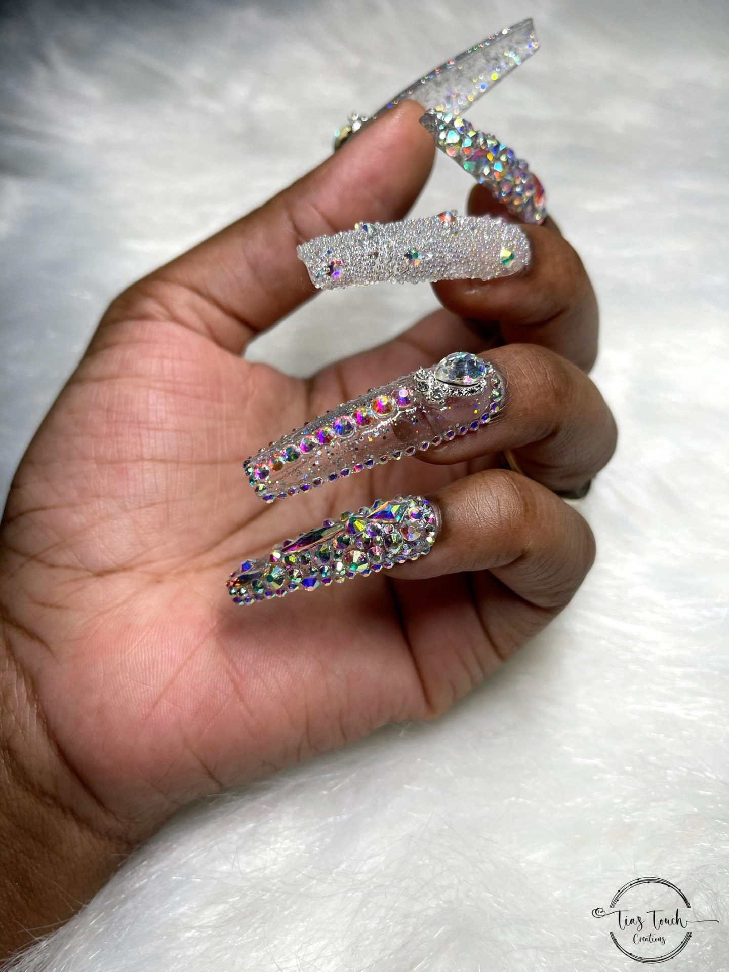 Silver glitter nails with rhinestones