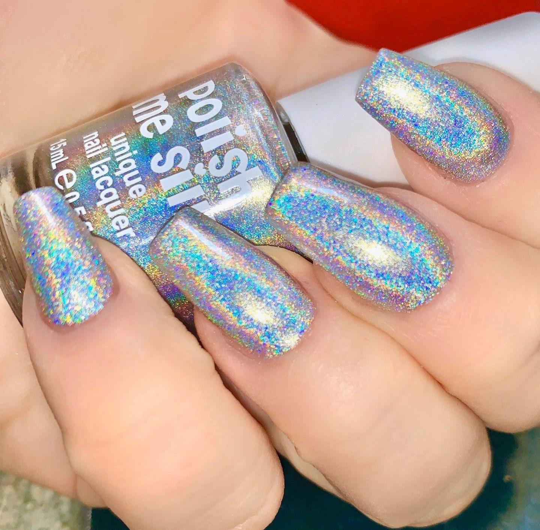 Silver holographic glitter nail polish