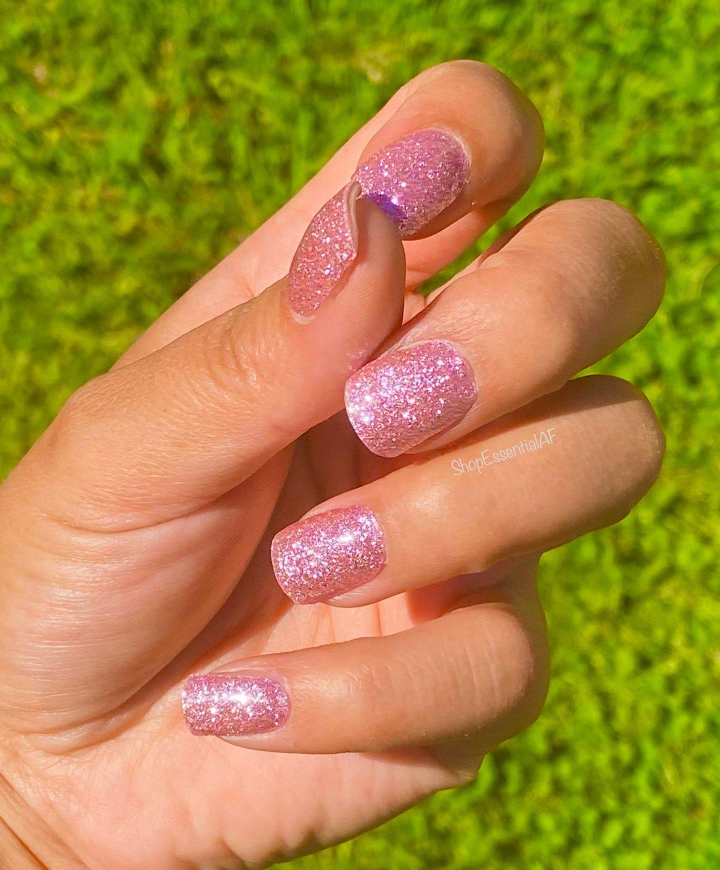 Short pink glitter nail polish wraps