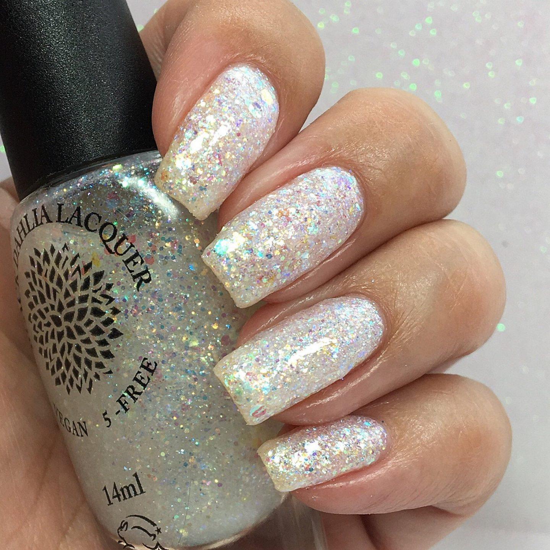 White holographic glitter nail polish
