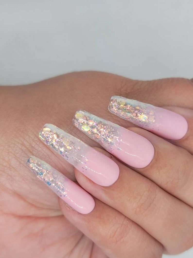 Ombre pink glitter nails