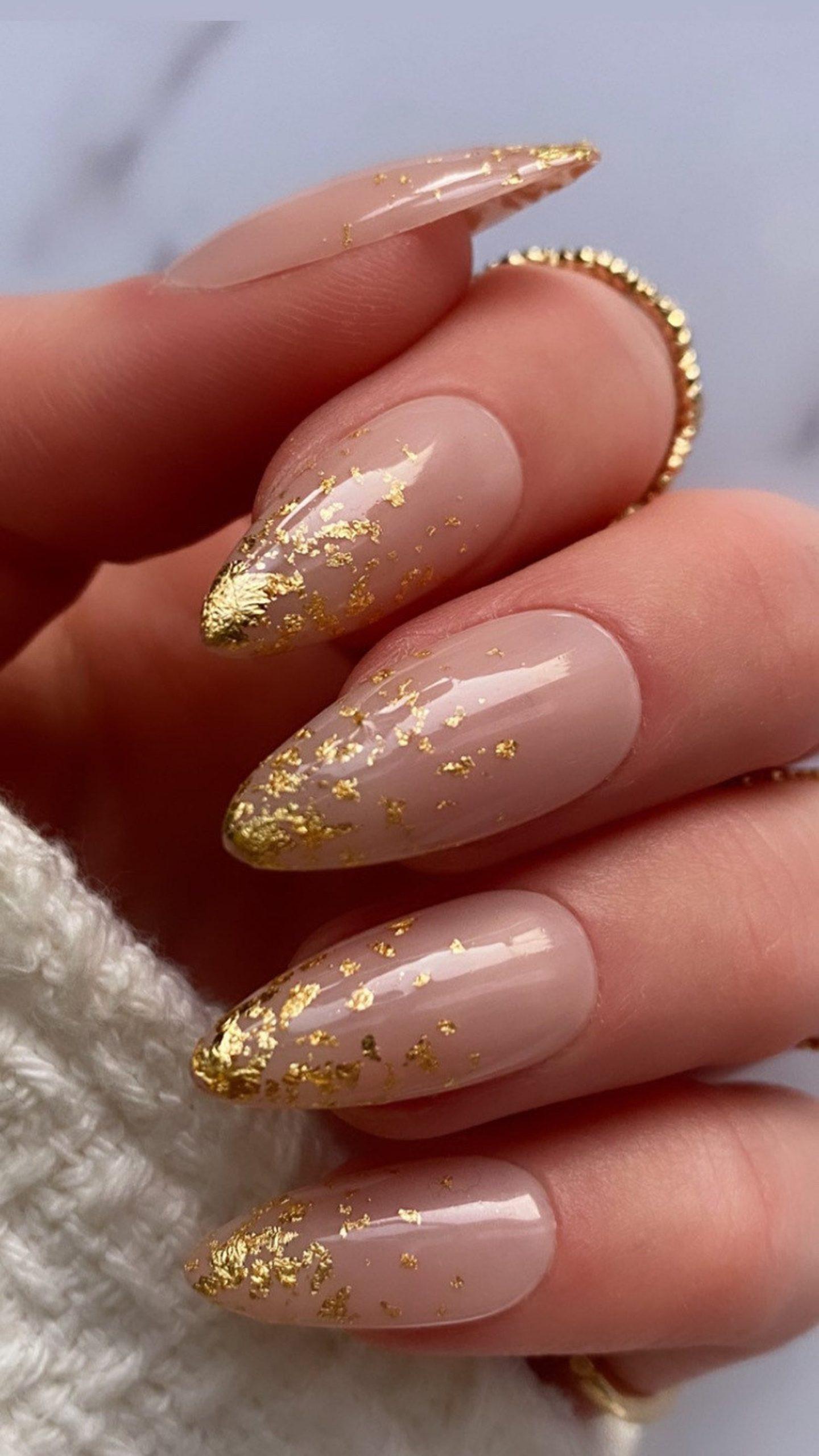 Gold foil ombre nails
