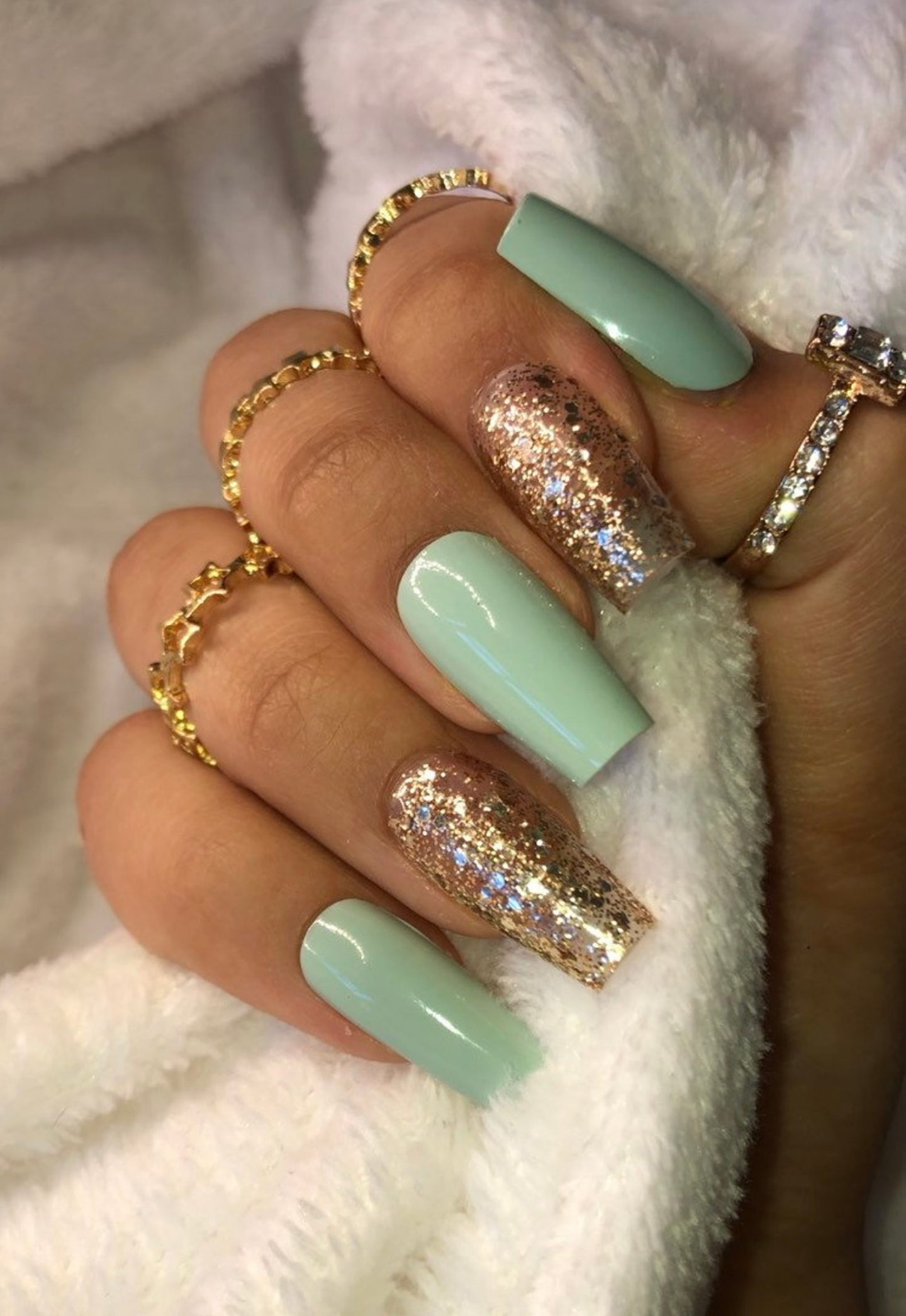 Mint green coffin nails with gold glitter