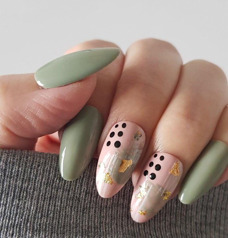 Pink and sage green nails with nail art