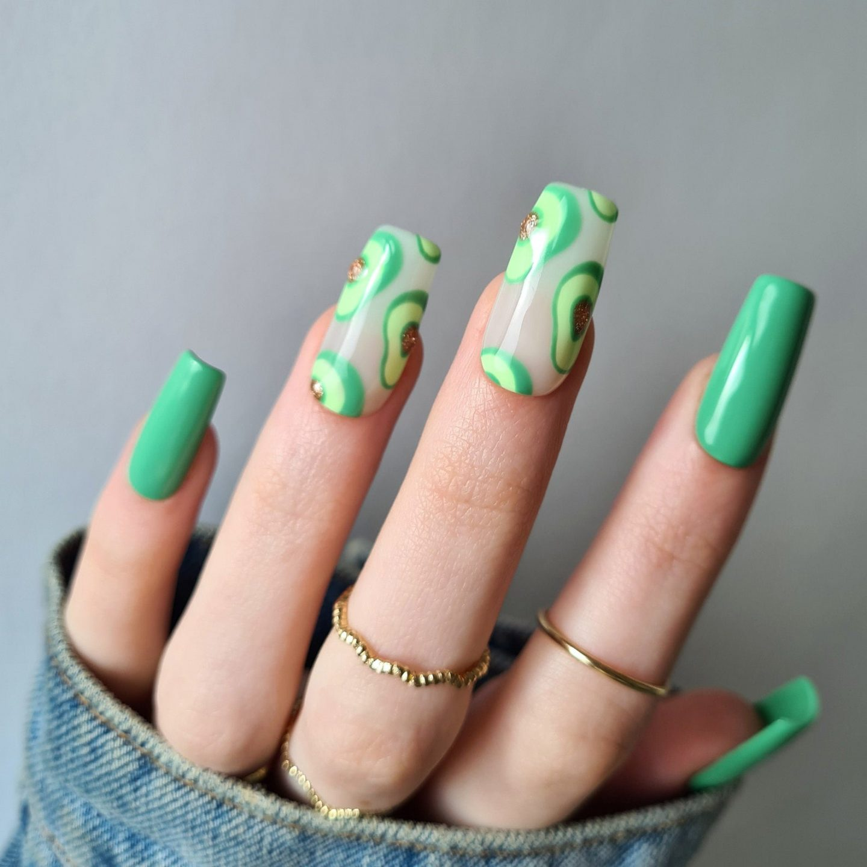 Bright green avocado nail art design