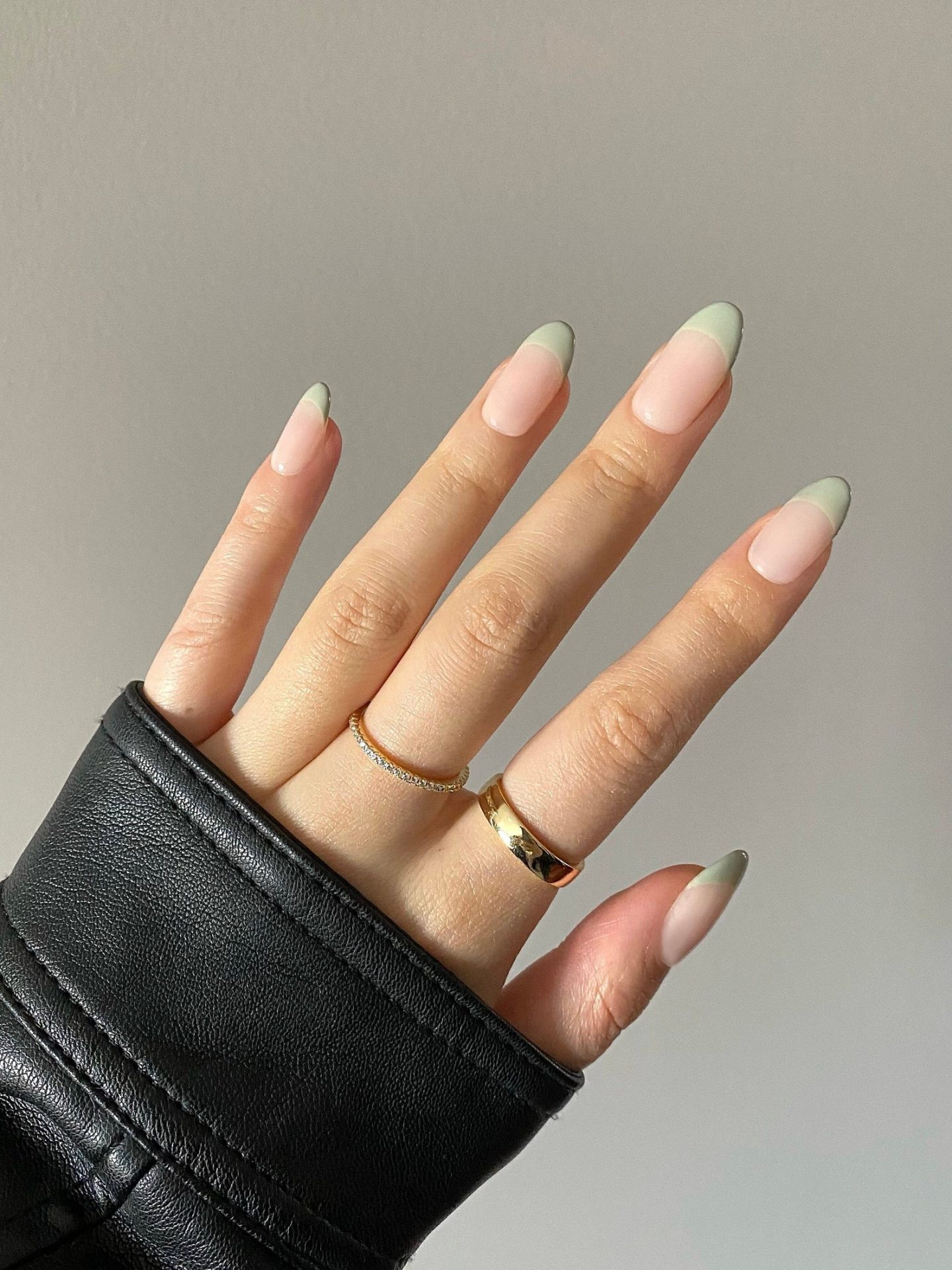 Sage green French tip nails
