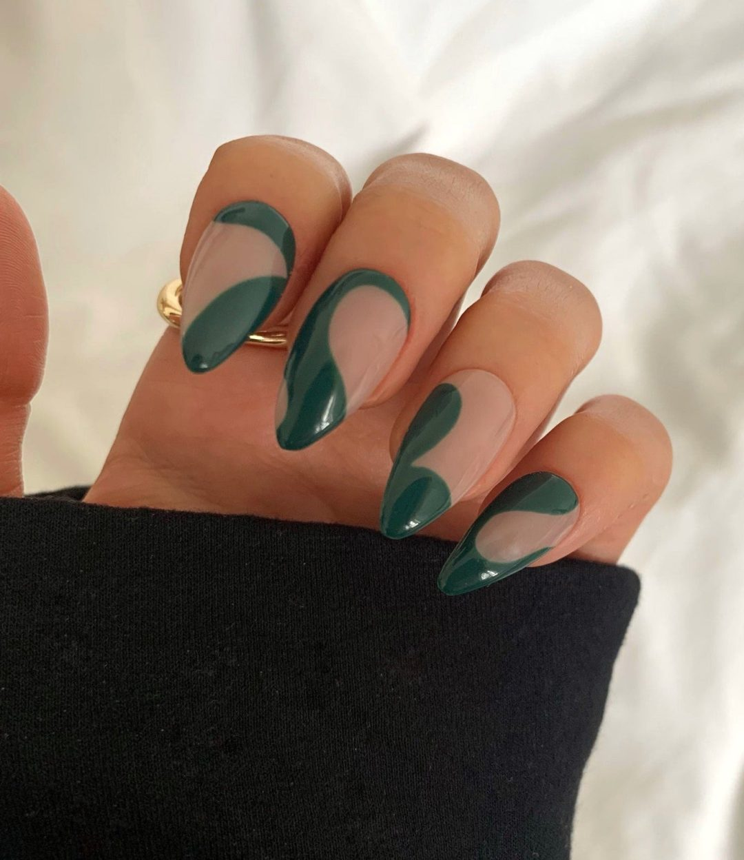 Forest green abstract swirl nails