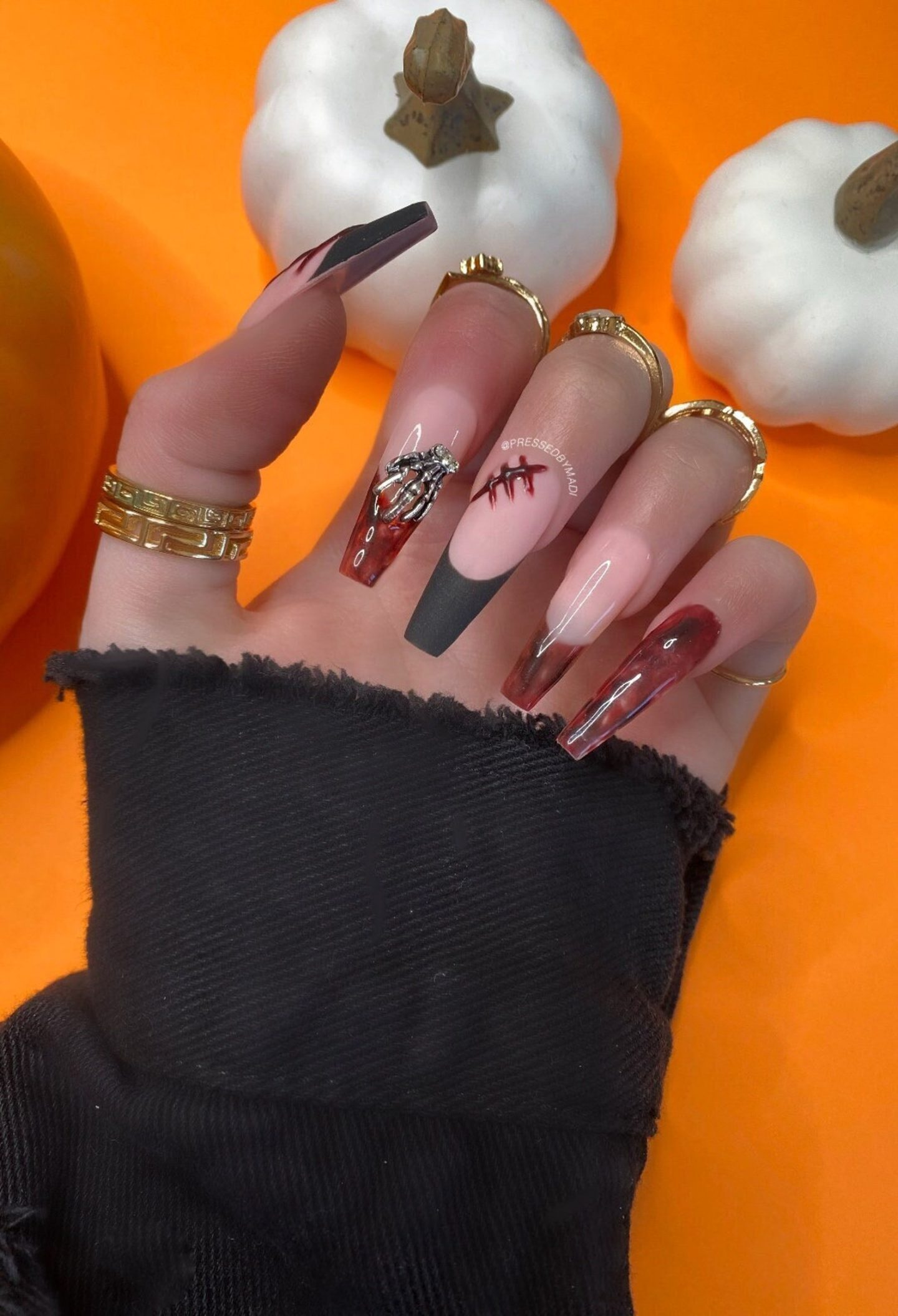 Red and black French tip Halloween nails