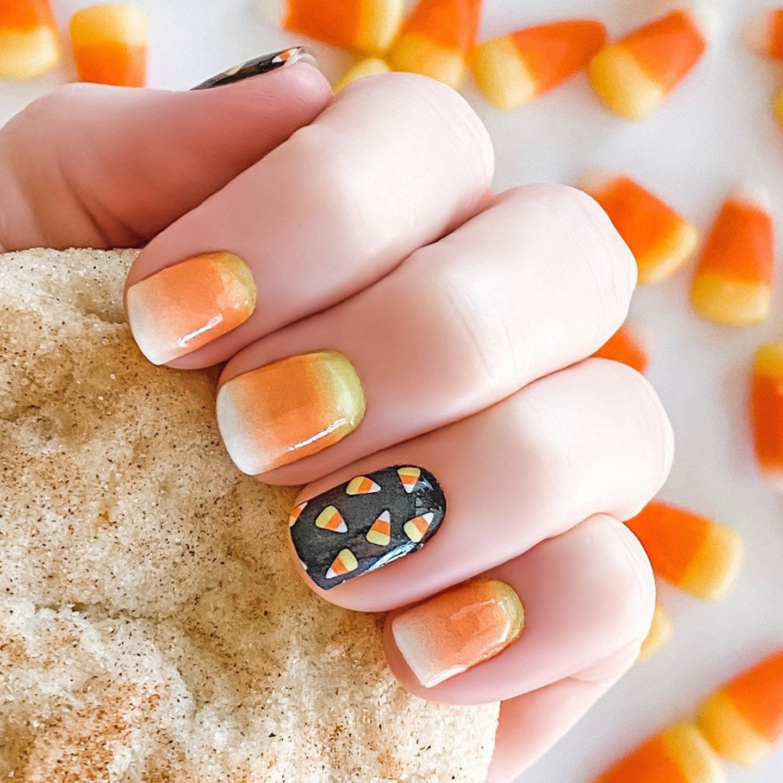 Short candy corn nails