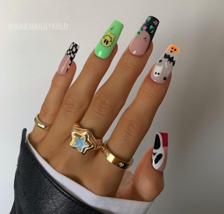 Cute Mix & Match Halloween nails