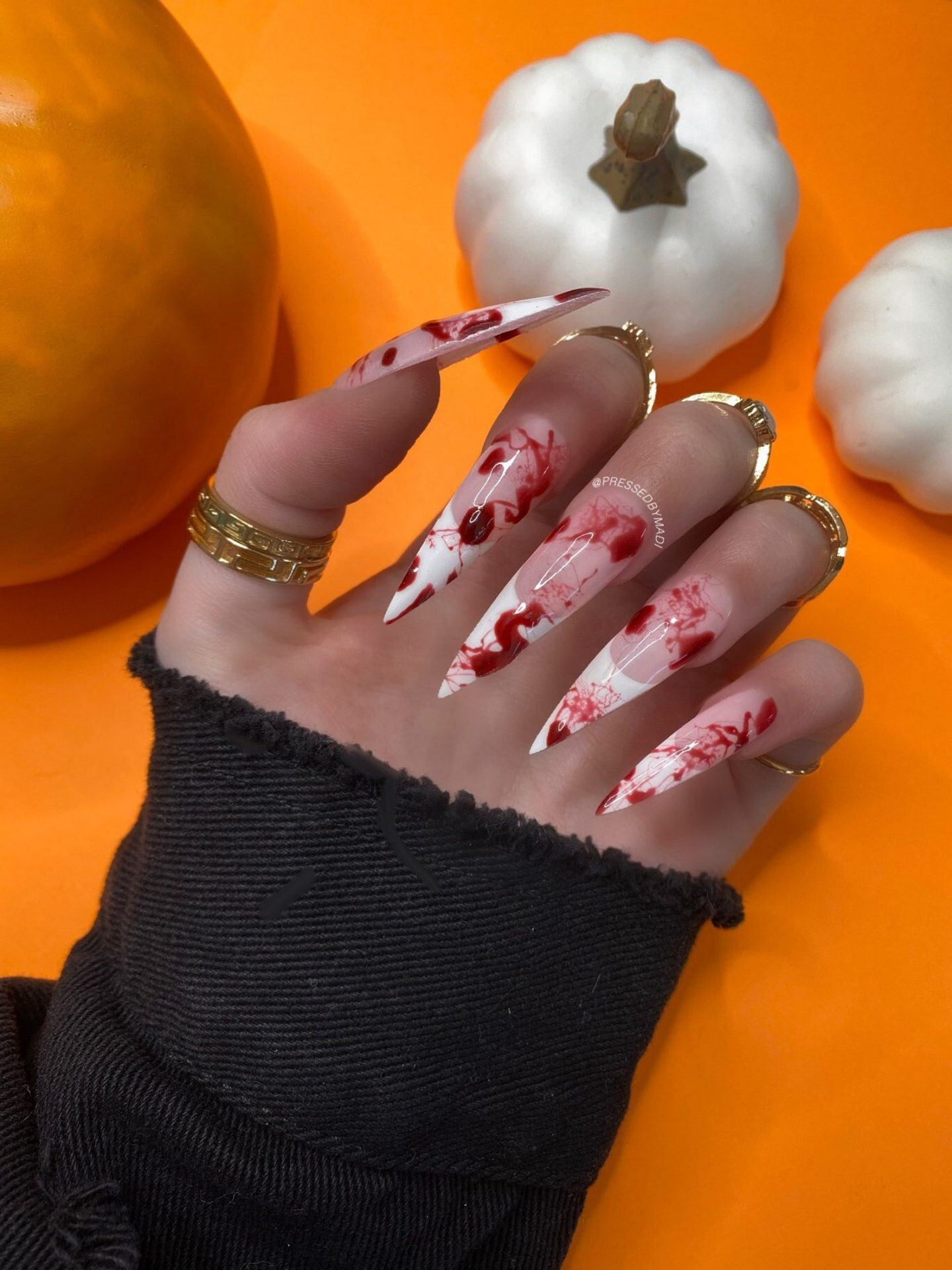 Bloody French tip stiletto Halloween nails